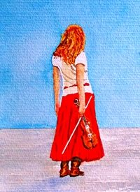 General artwork violin person for-her personalised online greeting card