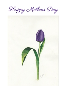 SJB Cards Purple Tulip Mothers flower personalised online greeting card