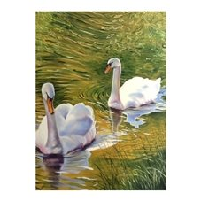 Wildart Swans art swans river personalised online greeting card