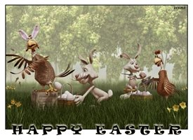 Easter Easter bunny rabbit chicken egg hen meadow funny humour toon personalised online greeting card