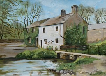 Mary Dodd Art Cottage in Malham, Yorkshire art Cottage house Country Malham Yorkshire painting artist art birthday art card anniversary greeting birthday personalised online greeting card
