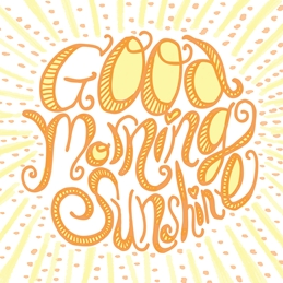 General sunshine, good morning, hand lettering, sun rays, every day, bright, fun, sun personalised online greeting card