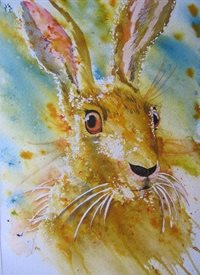 Summerhouse Studio Bad Hare Day art Hare, Rabbits, Wild Life, Countryside, abstract, animals personalised online greeting card