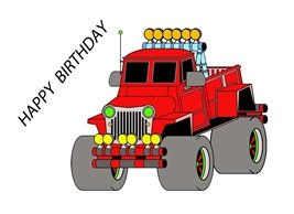 Birthday Children Red lorry truck fun personalised online greeting card