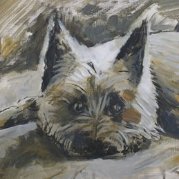 art Barney Dog Cairn Terrier birthday art painting anniversary dogs lover personalised online greeting card