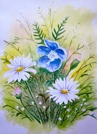 Art By Three  Meadow fineart  flowers daises bouquets blue carnations spring  for-her  meadows floral watercolours art blank general all occasions mums nans aunts sisters her fineart gardens pretty nature daisies white green for-her personalised online greeting card