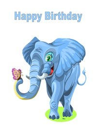 birthday children  Blue Elephant Butterfly z%a personalised online greeting card