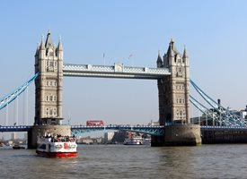 Photography Tower bridge, London, river, Thames,  water, boat, bus personalised online greeting card
