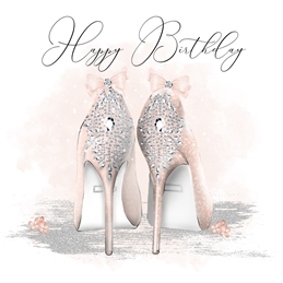 Birthday for-her, female, woman, shoes, diamonds, bows,  personalised online greeting card