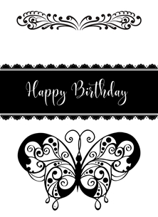 Butterfly,Black,White, personalised online greeting card