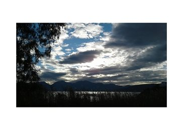 Photography Autumn dawn panoramic clouds mountains personalised online greeting card