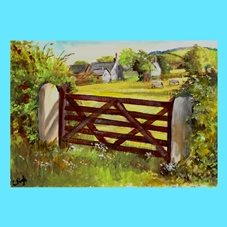 Wildart Down on the farm Art farm scene personalised online greeting card