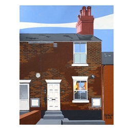 art Francis Bacon, Wivenhoe, Essex Scene, Essex townscape, brick houses, artists house, artists studio, Alan Taylor Painting, original art personalised online greeting card