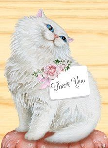 Snappyscrappy Thank You Card thank Persianc Cat, Animal, Feline personalised online greeting card