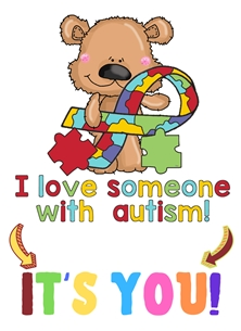 Autism,Colourful,Teddy,Ribbon, personalised online greeting card