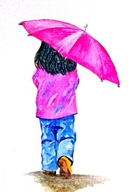 General girl child children umbrella rain pink dad son  granddad  uncle mum daughter Nan aunt friend for-children personalised online greeting card
