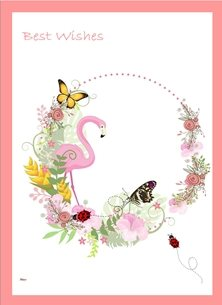Birthday Flamingo flowers garland lady bird butterflies pink white green red happy  personalised online greeting card