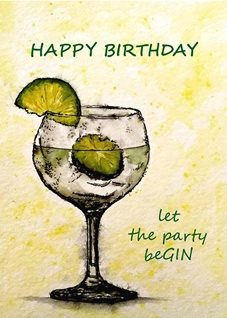 Birthday artwork gin drink  glass  funny  for-her for-him personalised online greeting card