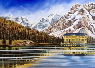 Art By Three  Lake Misurina mountains lake sky water hotel reflections snow personalised online greeting card