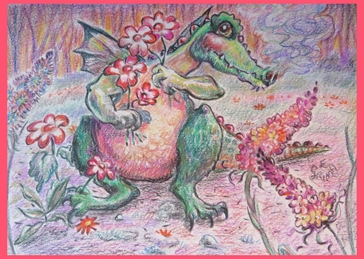 General art dragon, flowers, bright, cute, for-her, for-children personalised online greeting card