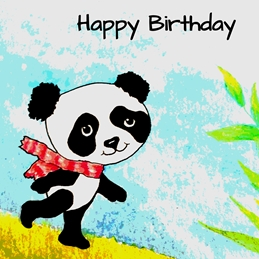 Birthday artwork panda  sky for-children  personalised online greeting card