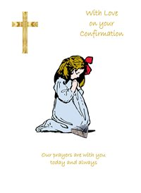 Her Nibs  With love on your confirmation - Girl General Cross girl kneeling praying blue white brown red happy confirmation christening z%a personalised online greeting card