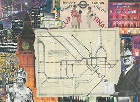 general Collage, tube map, London, Queen, nostalga, history, Everyday Art, General, abstract, congratulations, Thank you, birthday, friend,  personalised online greeting card