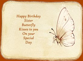 Birthday for-her,butterfly, celebration, sister personalised online greeting card
