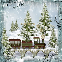 CHRISTMAS TRAIN snow personalised online greeting card