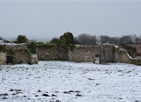Photography Quarr ruins snow winter greetings personalised online greeting card