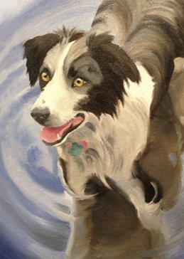 art Border Collie dog dogs river swimming water birthday mum mother anniversary art artist painting personalised online greeting card