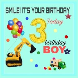 Birthday Children Colourful, boys, 3rd, digger, truck, toys, fun personalised online greeting card