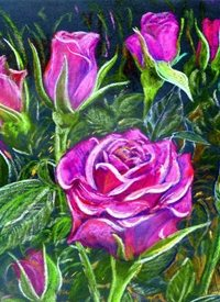Artcards by Matthew Evans Roses for Mum General pink flowers gardening pastel painting floral green personalised online greeting card