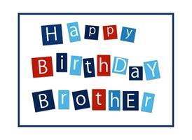 birthday  greeting cards by Snappyscrappy Navy, White,  Brother z%a Happy Birthday Brother