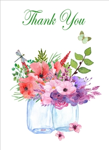 Her Nibs  Flowers in mason jars  Thank Water colour flowers jars butterfly dragonfly pink purple white  Thank you For - Her Wholesale personalised online greeting card