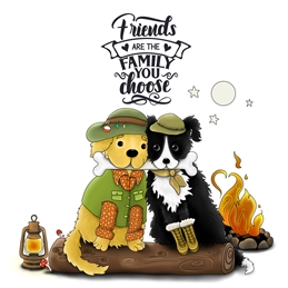 general GENERAL NOTELET FRIENDS dogs personalised online greeting card