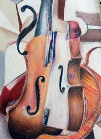 art Cubism, Music, Musical instrument, violin,  z%a personalised online greeting card