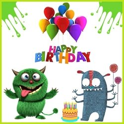 Elegant cards  Children's birthday  Birthday Boy  monsters children balloons happy cake  personalised online greeting card