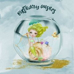 Birthday children Mermaid, Fantasy, Mystical personalised online greeting card