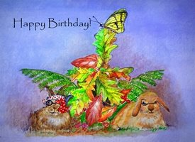 Birthday fun  cartoon countryside nature rabbits funny artist  Rabits z%a personalised online greeting card