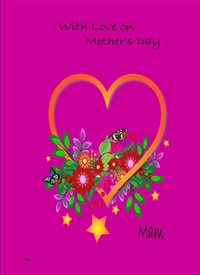 mothers Heart flowers purple yellow red green z%a personalised online greeting card