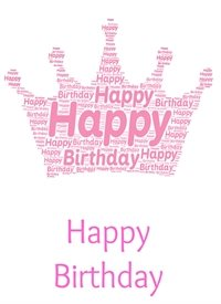 Birthday  princess crown pink royalty girl  personalised online greeting card