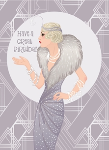 Birthday Art Deco, Retro, Lady, Grey, Silver, White,  personalised online greeting card