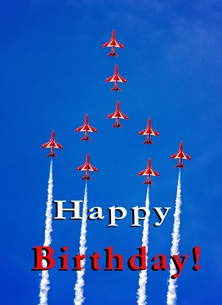 birthday red arrows, jets, plane, aeroplane, aviation, aircraft, RAF personalised online greeting card