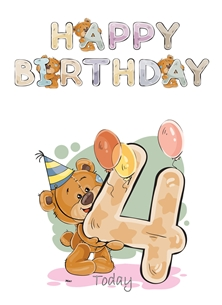 Birthday children For Children Water Colour Teddy Age 4  personalised online greeting card