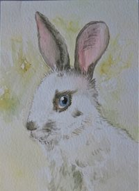General  white rabbit, Easter, bunny,, cute animals, blue eyes, for-her, for-him, for-children personalised online greeting card