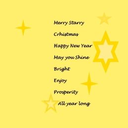 Madelein De Beer Christmas Card Christmas for-him, for-her, Stars, Yellow, Positive wishes personalised online greeting card