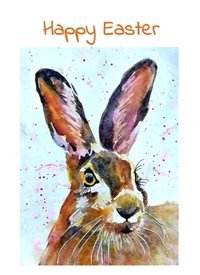 Easter Hare rabbit animal  brown pink dad son  granddad  uncle mum daughter Nan aunt friend personalised online greeting card