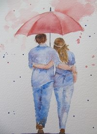 art Red, Umbrella, Rain, walking, holding hands,  personalised online greeting card