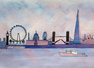general London, cityscape, River Thames, boat, personalised online greeting card
